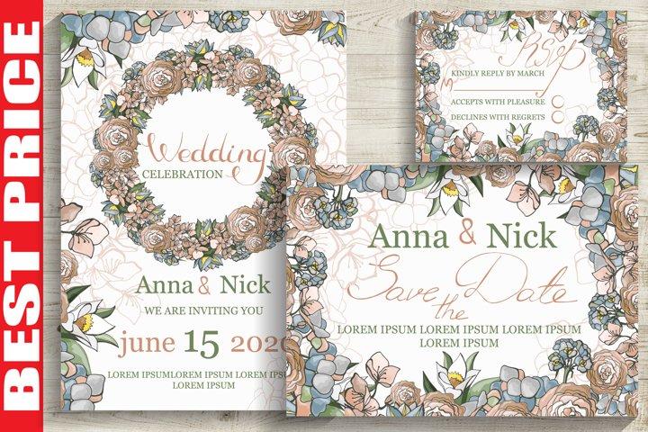Pastel Wedding Invitation Cards