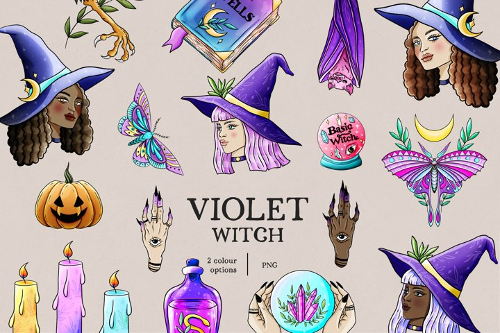 Violet Witch clipart, pastel goth clipart, pastel halloween