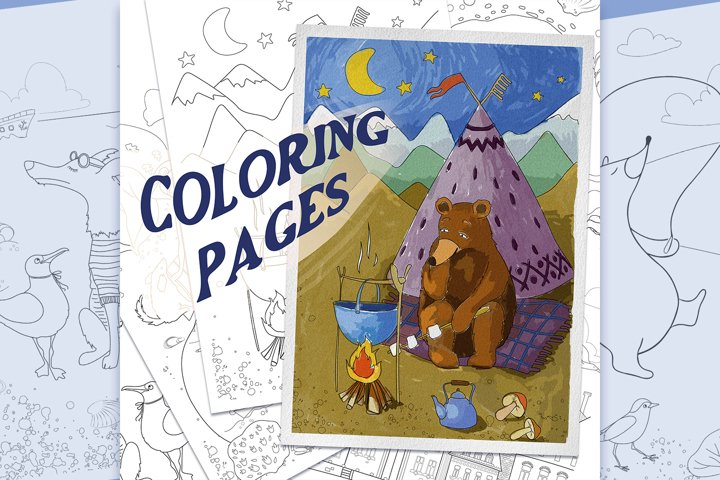 Coloring pages with funny animals, journeys and summer stuff