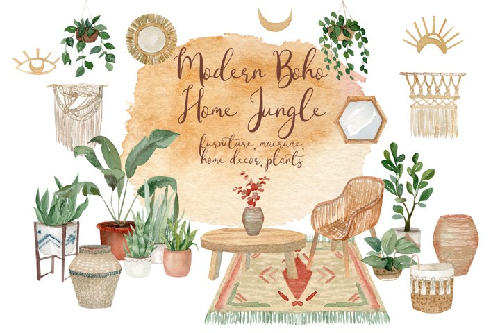 Modern Boho Home Jungle Watercolor Clipart - 96 png files