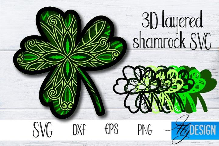 3d Layered Shamrock SVG. St Patricks Day SVG, Patrick Cut.