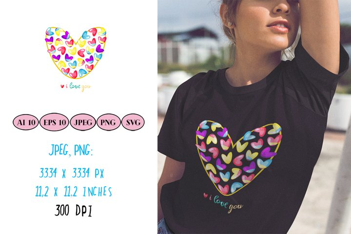 Beautiful heart made of rainbow hearts with quote