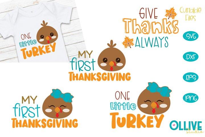 My First Thanksgiving, Little Turkey SVG Bundle