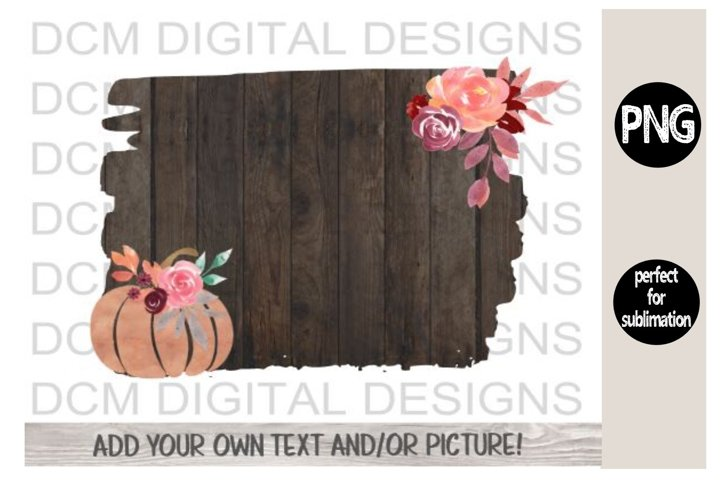 Rustic Wood Fall Background pumpkin sublimation PNG design