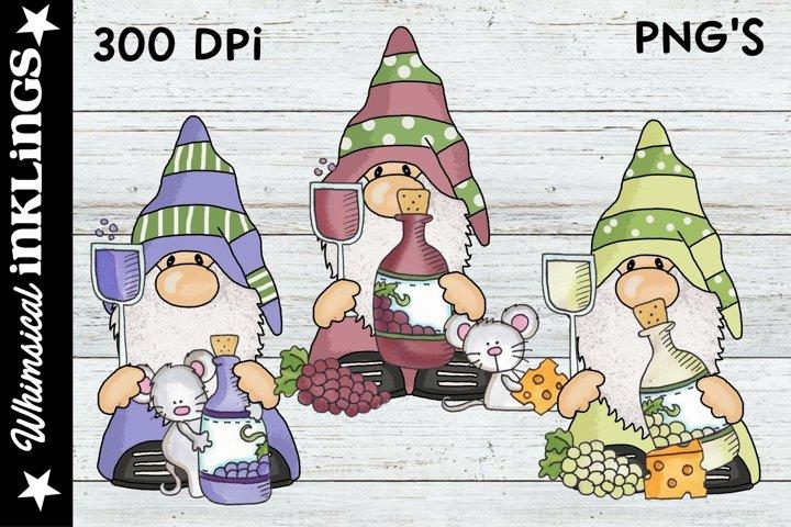 Woodland Wine Gnomes Sublimation Clipart