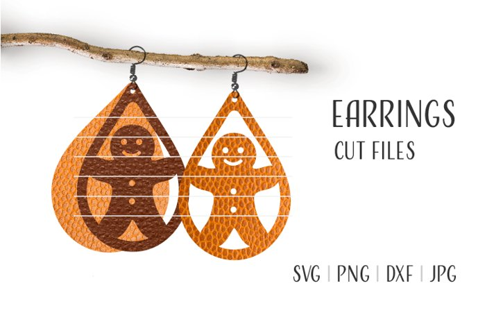Gingerbread Man Earrings Svg, Earrings Template