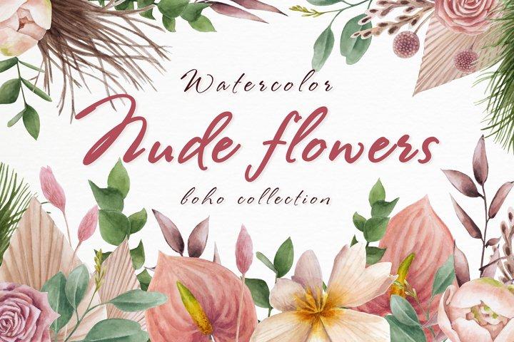 Set of watercolor Nude flowers