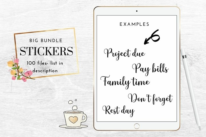 Bundle of stickers for planners, Digital bullet journals
