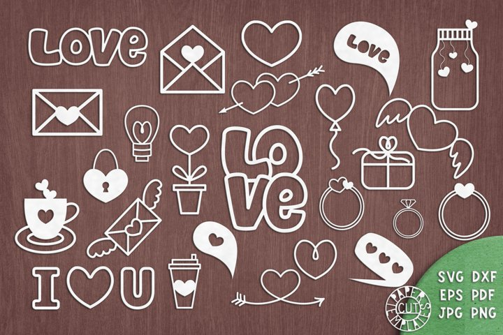 SVG Set of Love elementes for Cricut, laser cutting.