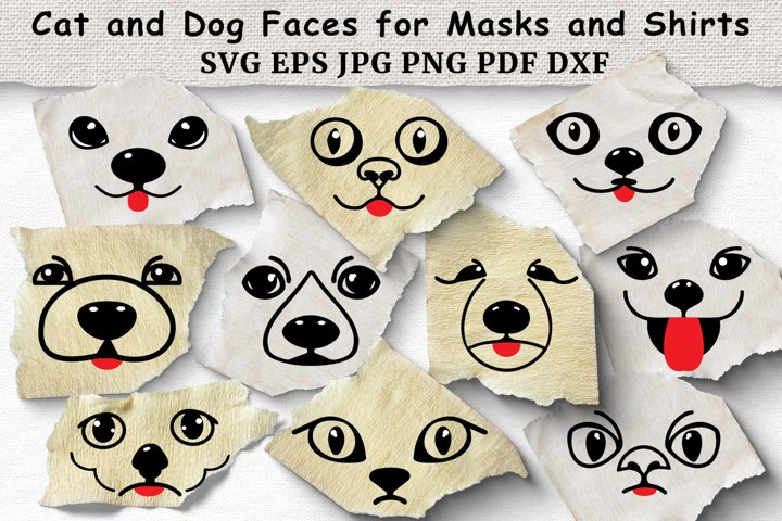 Dog and Cat Faces for Masks and Shirts SVG Bundle. Cut Files