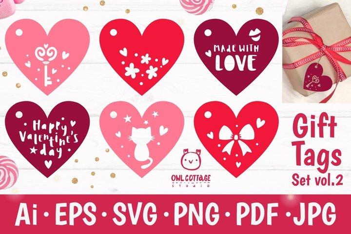 Valentines Day Gift Tags SVG Bundle, Valentine Decor
