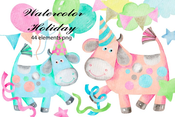 Holiday watercolor clipart collection