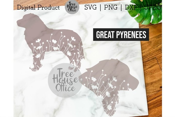 Great Pyrenees Dog SVG, Pyrenees with Flowers SVG PNG JPEG