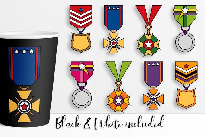 Award medals superhero illustrations