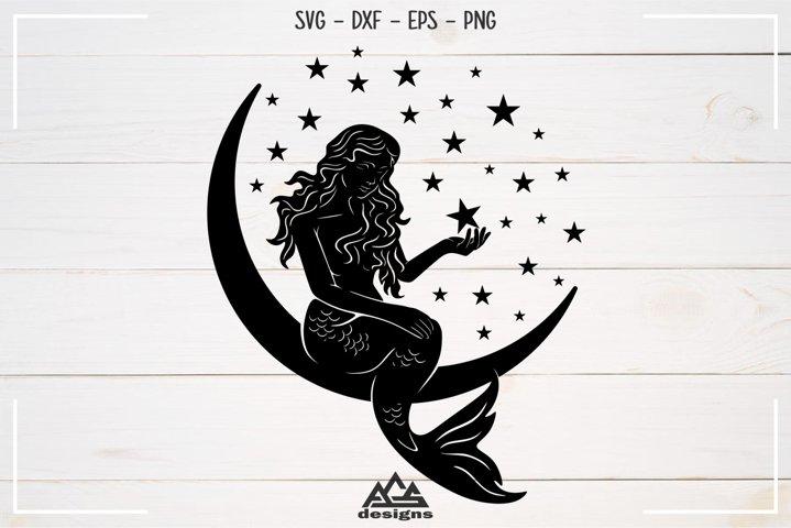 Cute Mermaid Moon Stars Sillhoutte Svg Design