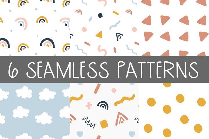 Scandinavian style set - 6 seamless patterns