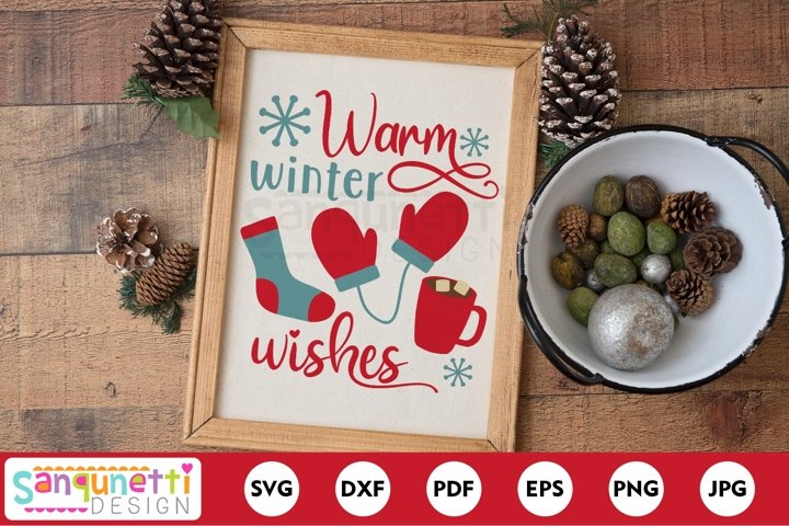 Warm winter wishes, mittens and hot chocolate SVG