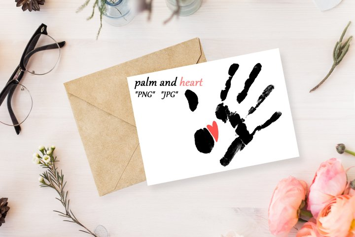 a black palm print with a small red heart