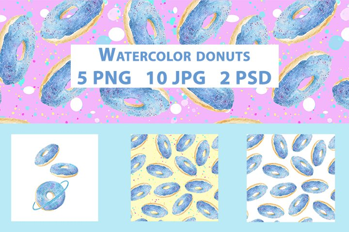 Watercolor donuts illustrations and patterns