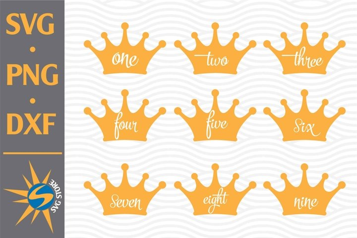 Crown Numbers SVG, PNG, DXF Digital Files Include