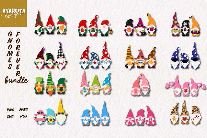 Gnomes Holiday Bundle SVG Cut for Christmas, Valentine, fall