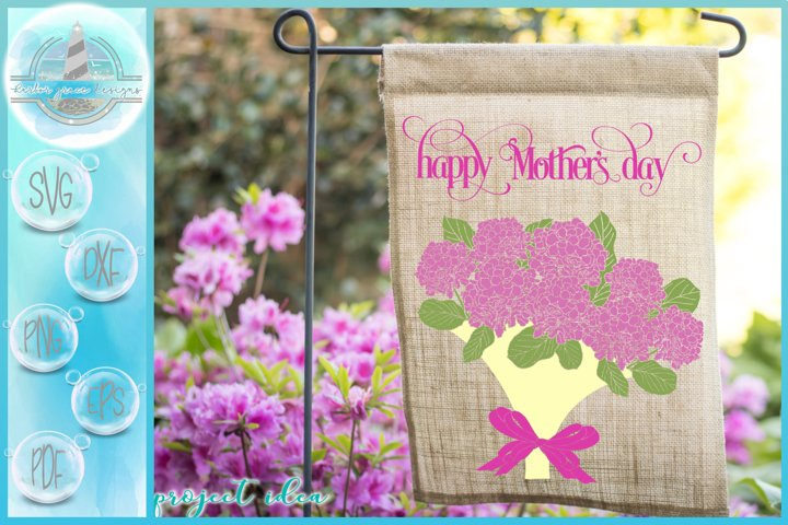 Hydrangea Bouquet Happy Mothers Day Quote SVG