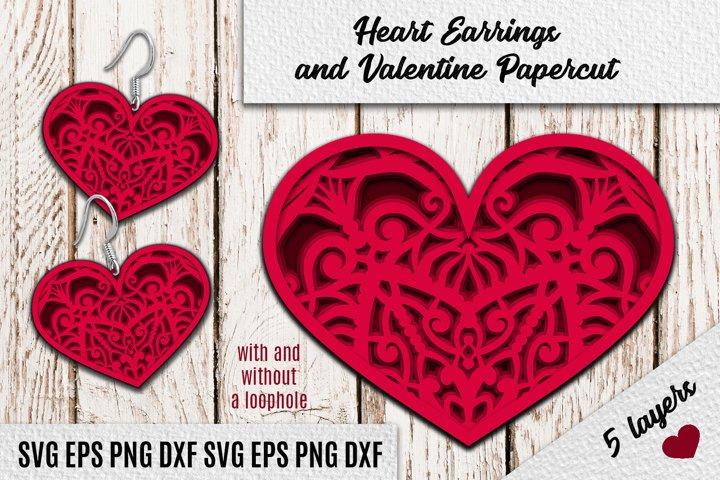 Heart Earrings   SVG PNG EPS DXF   Valentine Papercut