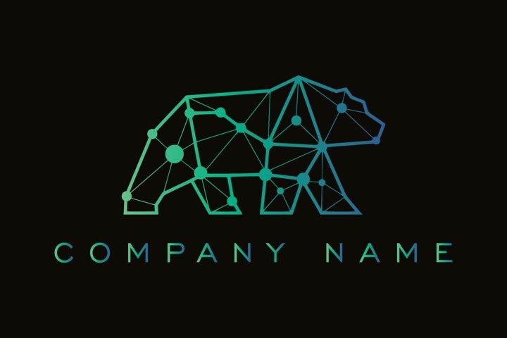 Bear technology logo design template