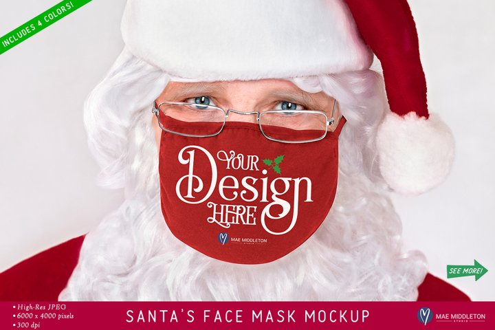 Face Mask Christmas Mockup | Santa styled photo - jpg file