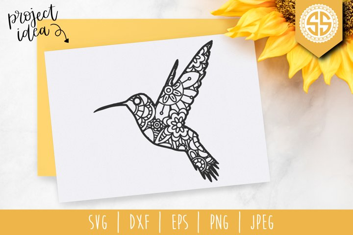 Hummingbird Mandala Zentangle SVG, DXF, EPS, PNG, JPEG