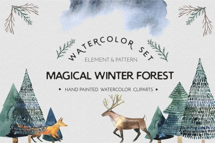 Watercolor animal forest - watercolor set