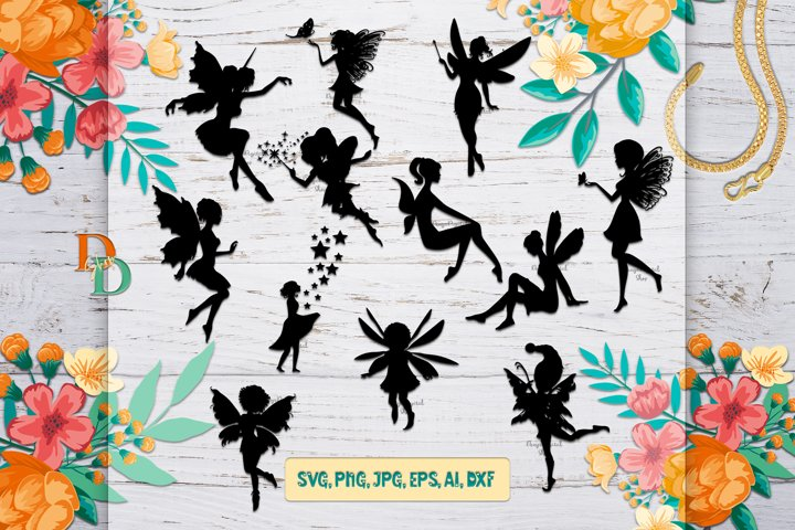 Fairy Silhouette SVG,Fairy Digital Images,PNG,DFX,EPS,JPG,AI