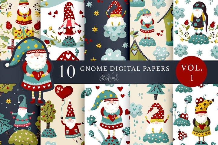 Valentines Gnome. Seamless patterns.