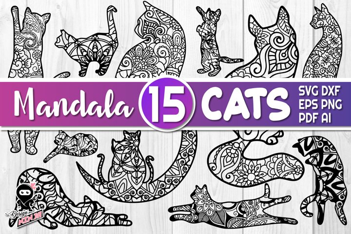 Mandala Cats. 15 Silhouettes of zentangle kittens. SVG cut