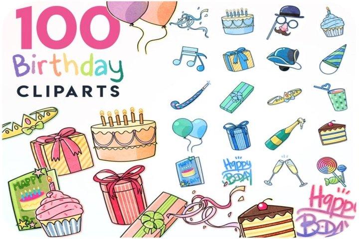 100 Birthday sticker kit - Digital stickers & party cliparts
