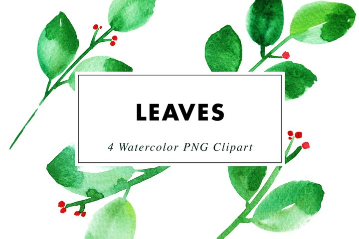 Watercolor leaves | Clipart PNG Illustrations