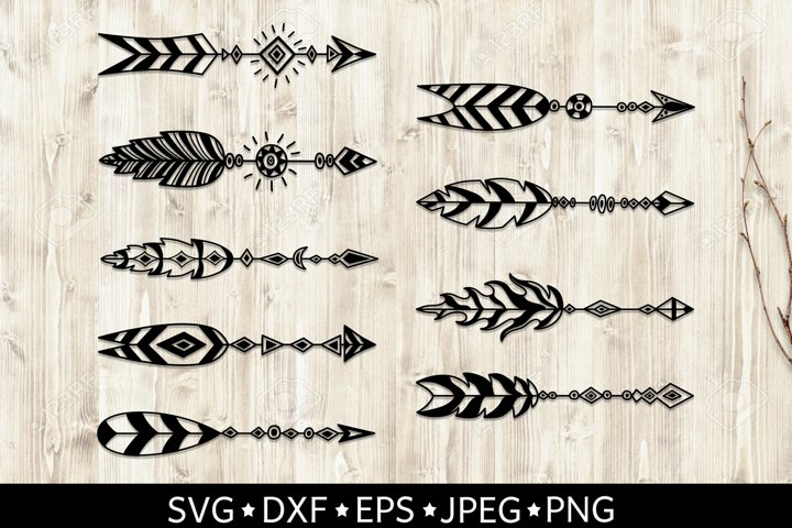 Set of arrows with feathers. Boho style. SVG cut files. DXF.