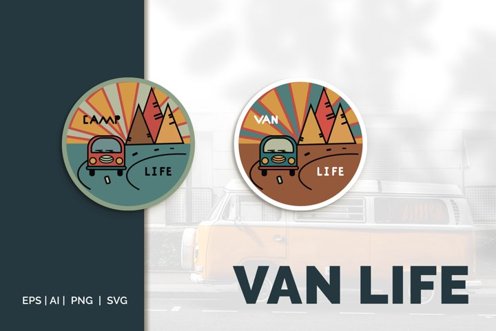 Van life Graphic. Two round logos in doodle style
