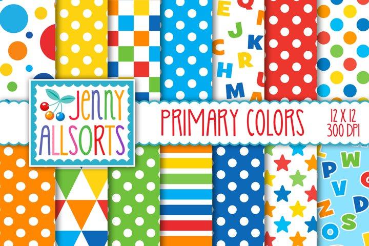 Primary Color Patterns, Digital Design Paper Pack