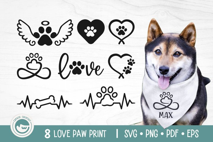 Paw Print SVG Cut Files - Love Dog Paw SVG Bundle