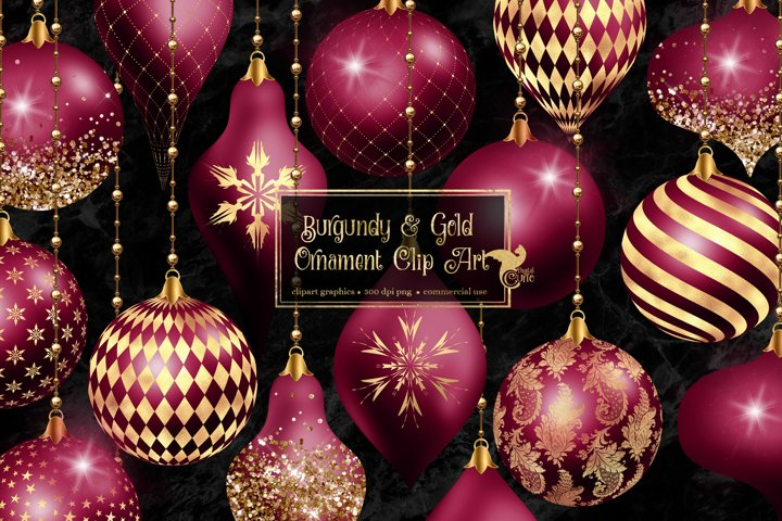 Burgundy and Gold Christmas Ornaments Clipart