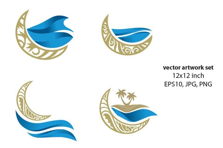 golden moon and sea- single vector artwork