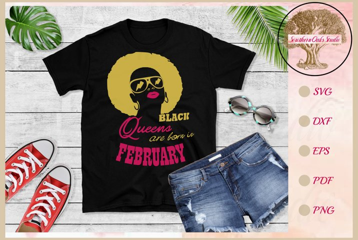 Black queens are born in February birthday t shirt design