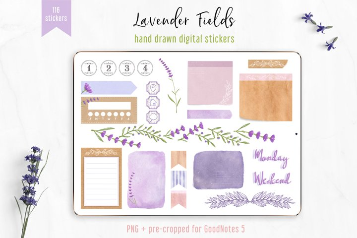 Digital Stickers Lavender Fields, PNG GoodNotes 5