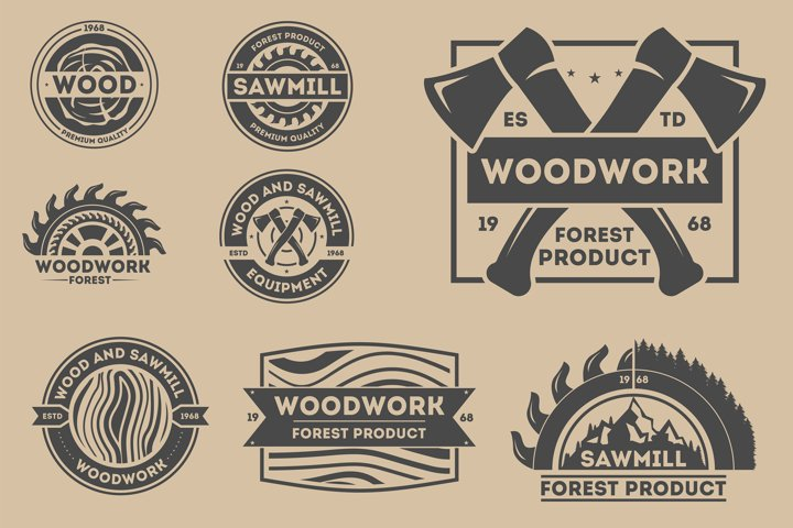 Forest product vintage isolated label set