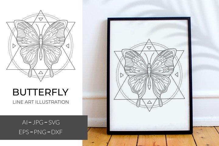 Mystic butterfly svg, sacred geometric line art butterfly