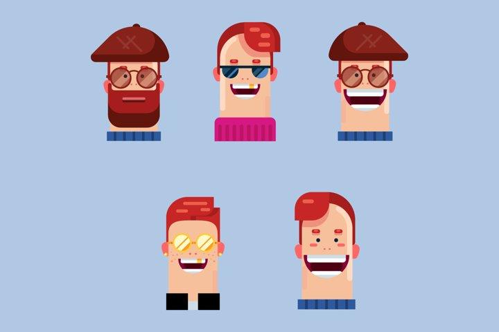 bundle of white guy avatars flat characters