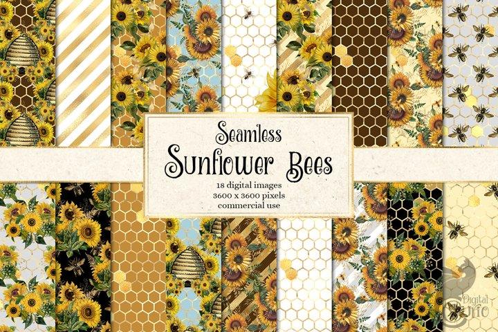 Sunflower Bees Digital Paper