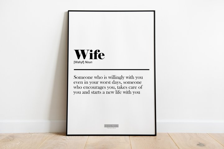Wife Definition Print Frame not included