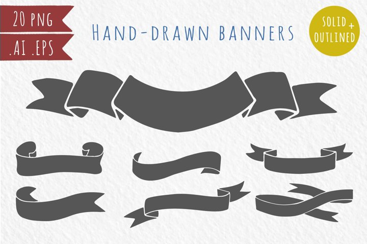 20 hand-drawn ribbons, banners - Free Design of The Week Font